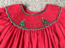 Rosalina Girls Smocked Christmas Tree Dress Sz 5 Y Red Short Bishop Sleeve EUC!