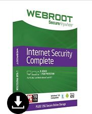 Webroot SecureAnywhere Internet Security COMPLETE 2018, 1 User 1 Year DOWNLOAD