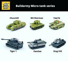 Buildarmy® WW2 MOC mini tank German Tiger Panzer soviet T34 brick house diorama