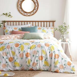 Peach Duvet Covers Pommie Watercolour Fruit Quilt Cover Bedding Sets by furn.