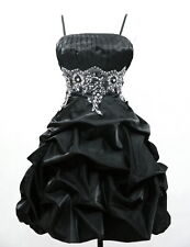 BLACK EVENING RUFFLE DRESS FLORAL EMBROIDERY TRIM BY CHERLONE SIZE 14/16