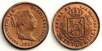Spain-Isabel II. 5 Centimos de real 1862. Segovia. SC/UNC. Cobre 1,9 g. PERFECTA