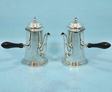 Set/2 Antique English Old Sheffield Silverplate Chocolate Pot MH&Co c1880
