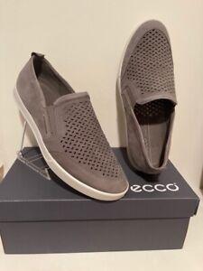 ECCO BRAND NEW warm grey nubuck leather slip on shoe Mens size 46 (12-12.5)