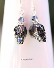 Earrings made with Silver Night Skull Swarovski crystal element 925 silver hooks