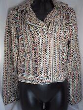 American Rag Juniors Multi-Color Asymmetric Zip-Front Tweed Coat Crop Jacket S