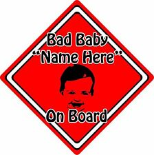 Personalised Bad Baby/Child On Board Car Sign ~ Baby Face Silhouette ~ Red