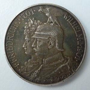 Kaiserreich 2 Mark 1901 zu 200 Jahre Königreich Preußen Silber mit Patina