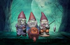 MINI GNOMI DA GIARDINO ZOMBIE Set di 3 GLOW IN THE DARK Occhi Pesca Carriola
