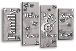 Family Quote Canvas Wall Art Love Home Picture Print Grey Black White 4 Split