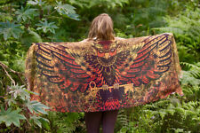 Sarong Scarf Owl Wings Lava Sacred Geometry, Totem Feather Pashmina Festival