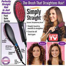 Straight Heated Ceramic Hair Brush Straightener Perfectly Straight Hair Comb NEW