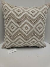 Lucky Brand Handcrafted Linen Decorative Pillow 17 x 17 Ivory Embroidery New