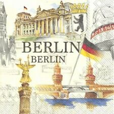 """4 Servietten """"STADT BERLIN"""" 33x33 Napkins Fernsehturm Sehenswürdigkeiten Antik"""