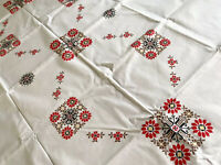 Vintage Large UNUSED Hand Embroidered White COTTON Tablecloth 63X42""