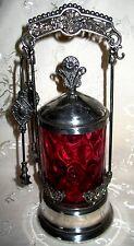 Victorian Antique Cranberry Glass Silver Plate Castor Reverse Thumb Print
