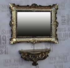 Set Gold/Black Wall Mirror with Console Tray 56x46 Antique Baroque Rococo