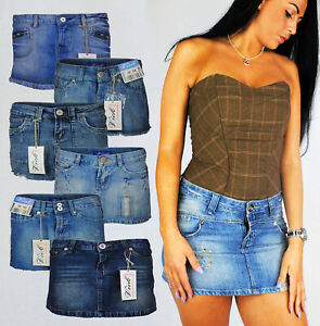LADIES MICRO MINI DENIM SKIRT WITH JEWELS AND POCKETS FADED AND DISTRESSED 8 10