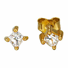 Echtschmuck im Ohrstecker-Stil aus Gelbgold mit Zirkon-Ohrschmuck für Damen