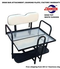 Rear Flip seat kit for EZGO Golf Cart Medalist / TXT model(White) with grab bar