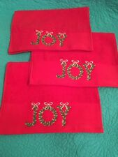 """Set Of 3 Red Terry Christmas Fingertip Towels W/Embroidered """" Joy """""""