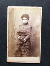 Victorian Carte De Visite CDV: Very Elegant Young Lady: Umbrella Studio Backdrop