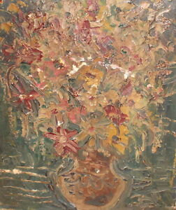 Vintage expressionist oil painting still life with flowers