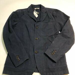 NEW J.Crew Wallace & Barnes Mens Linen Cotton Chore Jacket Navy 36R 3 Button