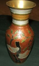 """Antique Japanese Cloisonne Vase-Birds & Leaves-Brown Background-8"""" Tall-Beauty !"""