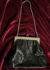 Vintage Black Metal Mesh w/ gold trim. Small evening bag by Glomesh Australia