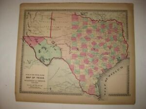 HUGE GORGEOUS ANTIQUE 1872 TEXAS HANDCOLORED MAP NATIVE INDIAN UNFINISHED AREAS