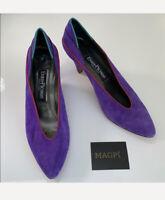 EVAN PICONE Vintage Suede Color Pop Low Heel Size 8 N Purple