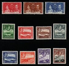 Antigua 1937/38 G6 selection of 11 to 1/- incl. Coronation set m/m