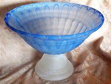 "ART GLASS SATIN FEATHER BLUE PEDESTAL BOWL-15 3/4"" DIAM-STUNNING DESIGN"