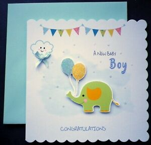 NEW BABY BOY scalloped CONGRATULATIONS CARD with Elephant topper / BLUE