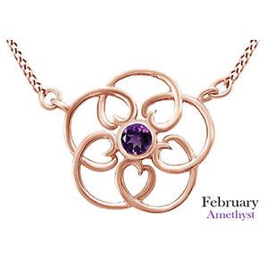 Round Cut Amethyst Filigree Pendant Necklace 14K Rose Gold Over Sterling