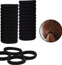 24 Goma de Pelo Elástica Banda de Pelo Negro de Algodón para Pelo Grueso, Pesado