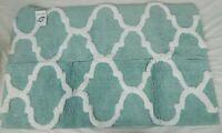 "Saffron Fabs Artic Blue & White 34"" x 21"" NonSkid Geometric Bath Rug"
