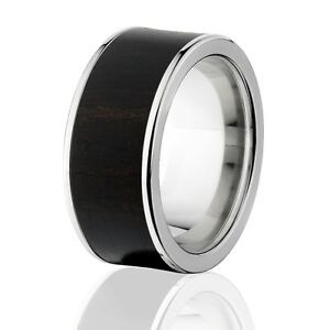 Exotic Hard Wood Wedding Band: African Blackwood in Titanium Ring, Wood rings