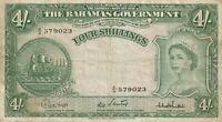 Vintage Banknote Bahamas 1953 4 Shillings Pick 13c Young Queen Elizabeth II TDLR