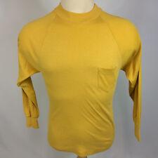 Vintage 60s 70s Blank Plain Raglan Surf Hi Cru Pocket T Shirt Yellow Mod Atomic