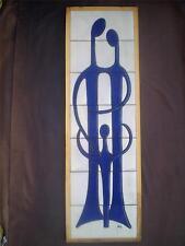 Greek Signed Modern Art Tile Plaque Ceramic Pottery Erotic Father Mother & Child