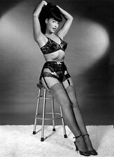 60s Bettie Page in lace bra panties and garter on stool 8 x 10 Photograph