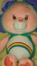 "11"" Care Bear Pink Cheer Rainbow Tummy Spring Flower Hood Stuffed Soft Plush Toy"