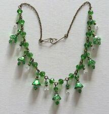 Green & White Snowdrop Flower Necklace Vintage Czech Art Deco Style Metallic