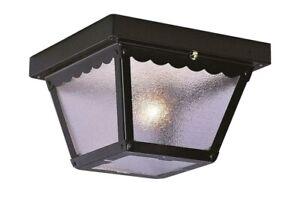 1-Light Outdoor Black Flush Mount Ceiling Fixture Tapered Box Shape Porch Light