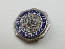 Vintage Silver Tone Enamel Hospital Volunteer Service Lapel Pin Octagon Award