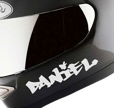 2 x Motorbike Motorcycle Crash Helmet Custom Name Stickers Decals