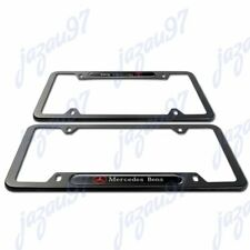 New MERCEDES-BENZ 2018 2019 2020 Black METAL license plate frame Stainless 2pcs
