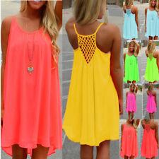 UK Womens Holiday Chiffon Beach Wear Bikini Cover Up Boho Ladies Swing Sun Dress